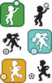 Signs and silhouettes of children involved in sports — Stock vektor