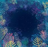 Underwater. Aquatic plants and corals surrounding sea abyss — Stock Vector