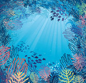 Underwater in daylight. Illustration of sea plants and fish — Stock Vector