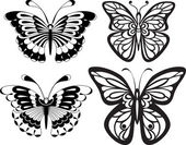 Symmetrical silhouettes butterflies with open wings tracery. Black and white drawing. options stylization. — Stock Vector