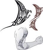 Maori Manta tattoo design — Stock Vector