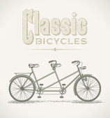Classic tandem bicycle — Stock Vector