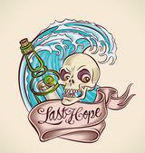 Last Hope - sailor's tattoo design — Stock Vector