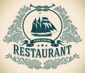 Schooner - fine dining restaurant label — Stock Vector