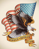 Eagle-spirit old-school tattoo — Stock Vector