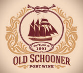 Old Schooner - port wine label — Stock Vector