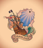 Old-school tattoo - Pirate Star — Cтоковый вектор