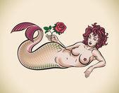 Sirène avec rose rouge — Vecteur