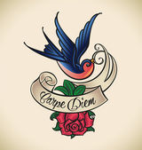 Swallow and rose, old-school tattoo — Stock Vector