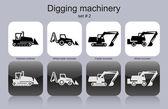 Macchinari di scavo — Vettoriale Stock