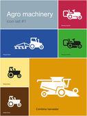 Agro machinery icons — Vettoriale Stock