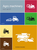 Agro machinery icons — Vettoriale Stock