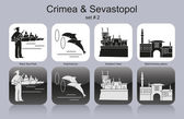 Icons of Crimea & Sevastopol — Stock Vector