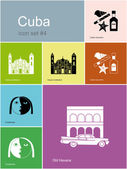 Icons of Cuba — Stock Vector