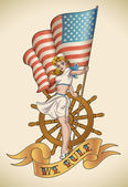 US Navy girl — Stock Vector