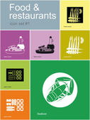 Icons of food and restaurants — Stock Vector
