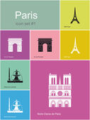 Icons of Paris — Stock Vector