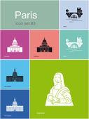 Icons of Paris — Stock Vector
