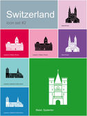 Icons of Switzerland — Stock Vector