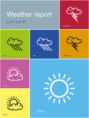Weather report icons — Stock Vector