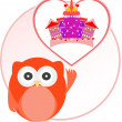 Background with owl and cute castle in love heart — Stockvectorbeeld