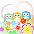 Floral greeting card with owls — Stock Vector