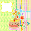 Happy birthday greeting card with flower and cupcake vector — Stock Vector