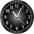 Silver wall clock with black face. vector — Vector de stock