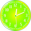 Vector de stock : Clock yellow circle icon. Vector illustration