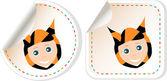 Set of cartoon smile baby boy invitation card — Stock Vector