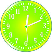 Clock yellow circle icon. Vector illustration — Stock Vector