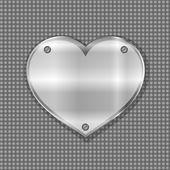 Metal heart label on steel background — Stock Vector