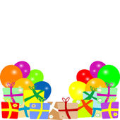 Card to birthday with balloons and gifts. vector — Stock Vector