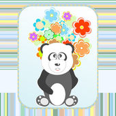 Panda in love with flowers holiday card Vector illustration — Stock Vector