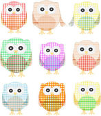 Owls icon set isolated on white — Vettoriale Stock