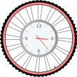 Clock on bike wheel isolated on white vector — ストックベクタ