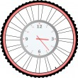 Clock on bike wheel isolated on white vector — Stock Vector