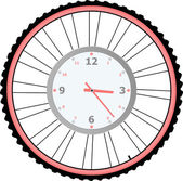 Uhr auf bike rad isoliert auf weißem vektor — Stockvektor