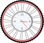 Zegar na koła roweru na białym tle na biały wektor — Wektor stockowy