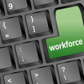 Touches de main-d'œuvre sur clavier - concept d'affaires — Vecteur