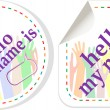 Hello my name is color signs sticker set — Stock Vector