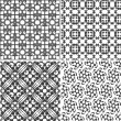 Four vector seamless floral monochrome patterns texture — Stock Vector