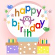 Birthday party elements with cute owls and birds — Stock Vector
