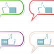 Social media sharing icon set - Like hand in speech bubble — Stock Vector