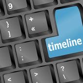 时间轴概念-键盘上的字时间线 — 图库矢量图片
