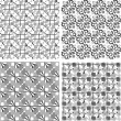 Set of black and white geometric seamless patterns. Vector — Stock Vector