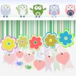 Sweet owls, flowers, love hearts and cute birds — Stock Vector