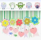 Zoete uilen, bloemen, liefde harten en cute vogels — Stockvector