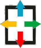 Vector ilustración de tablet pc con flechas. negocio — Vector de stock