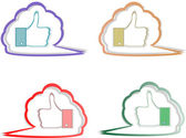 Like labels stickers set on abstract speech bubbles — Stock Vector